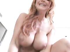 White redhead mom rides very big dick in pov