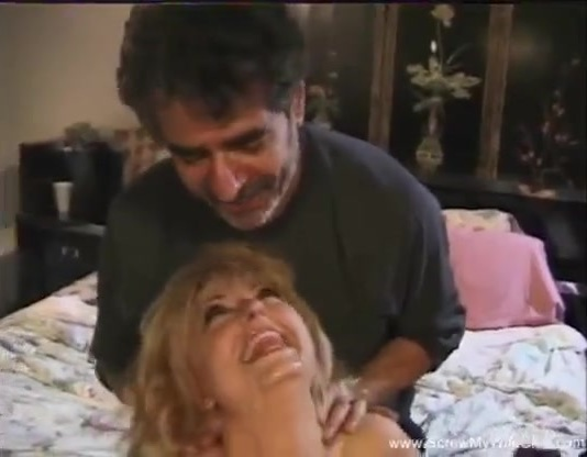 Blonde mature in threesome with studs