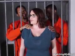 MILF Mom Maggie Green fucked by two prison bullies of her son