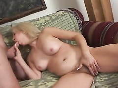 Blonde cougar gets anal with big cock