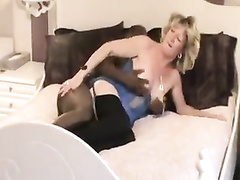 Mature blonde granny fucked by bbc as hubby blows