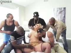 Blonde white tattoed wife interracial gangbang w dp