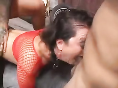 Brunette mature mom in fishnets hard threesome