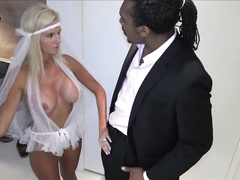 Sexy blonde bride fucked by black cock