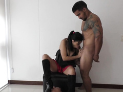 Cuckold wife sucks her bull's cock and spits on hubby
