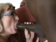 Blonde mom in glasses sucks and fucks bbc