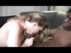 Chick with big tits enjoys cum in pussy after interracial fuck