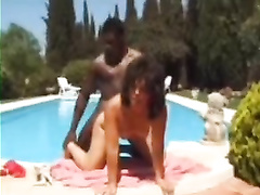 British classy slut gets bbc by the pool