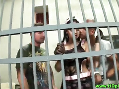 Prison brunette lingerie slut gets dp by two studs