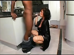 Brunette mature mom in fishnets interracial sex